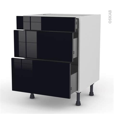 meuble cuisine casserolier meuble de cuisine casserolier keria noir 3 tiroirs l60 x