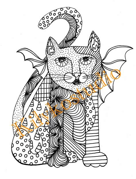 halloween cat bat abstract folk art adult coloring page etsy