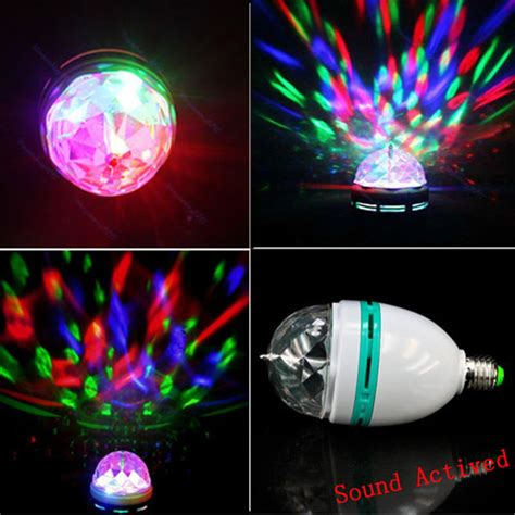 e27 3w rgb auto rotating sound activated led disco light