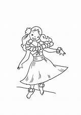 Hula Dancing Cartoon Coloring Pages Hawaiian Print Dancer Coloringonly Game Categories sketch template