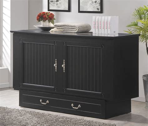 cottage queen murphy cabinet bed black  arason furniture