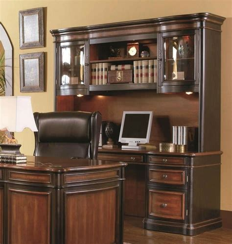 Office Hutch by Executive Credenza Desk Hutch W Glass Doors Two Tone