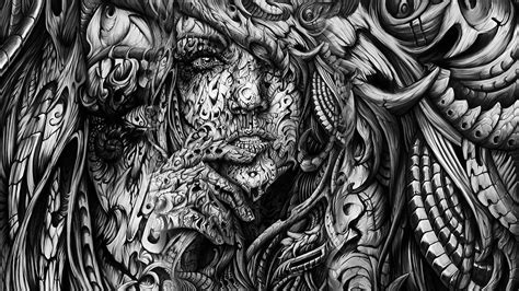 Abstract Faces Black And White by Fondos De Pantalla Cara Dibujo Arte Digital Mujer
