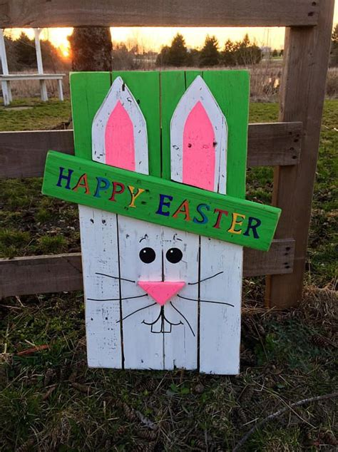 wooden happy easter bunny signeaster signbunny sign