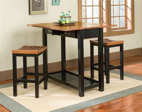 Small Drop Leaf High Top Kitchen Table Sets With Double