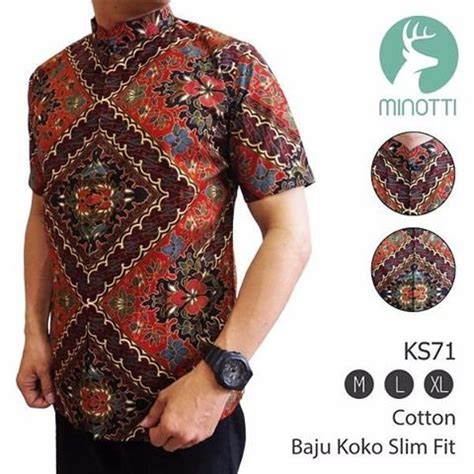 jual baju koko batik slim fit pria lengan pendek baju koko bagus baju kantor muslim baju muslim