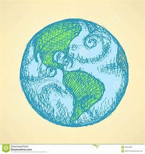 Sketch Planet Earth In Vintage Style Stock Vector - Image ...