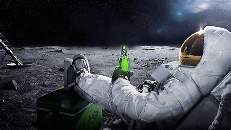Astronaut Drinking Beer On the Moon - Pics about space