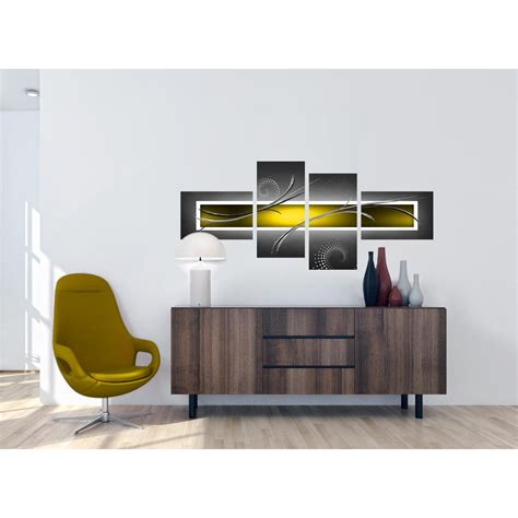 Yellow And Grey Abstract Canvas Wall Art For Your Living