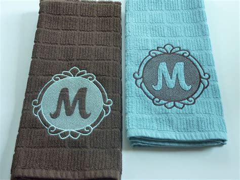 personalized turquoise  brown kitchen towels embossed embroidery sewing machine