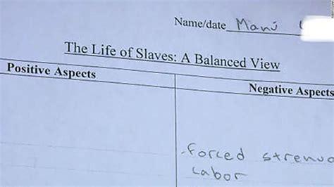 homework assignment asks students  list positive aspects