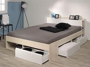 Cadre De Lit 140x200 : lit debar rangements 160 200 cm acacia et blanc ~ Teatrodelosmanantiales.com Idées de Décoration