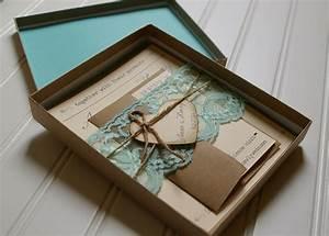 Rustic wedding invitations unique boxed lace and twine for Rustic wedding invitations in a box