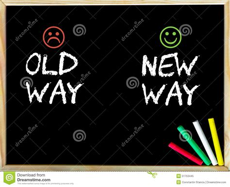 Old Way Versus New Way Message With Sad And Happy Emoticon
