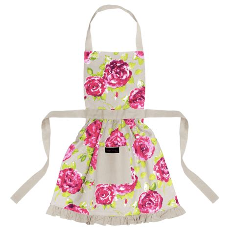 Girly Kitchen Aprons by Betsy Frilly Apron Taupe Ragged
