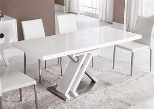 Table Blanc Laqué Extensible Ikea : acheter votre table moderne pied central croix laqu e blanche chez simeuble ~ Nature-et-papiers.com Idées de Décoration