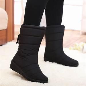 Winter Women Boots Mid Calf Down Boots Female Waterproof ...