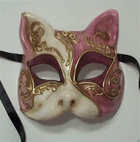 venetian cat mask purple gold gatto cat masquerade mardi gras mask italy