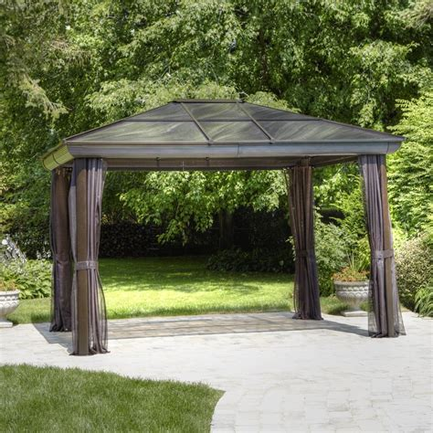 shop gazebo penguin brown metal rectangle screened gazebo exterior 11 91 ft x 9 75 ft