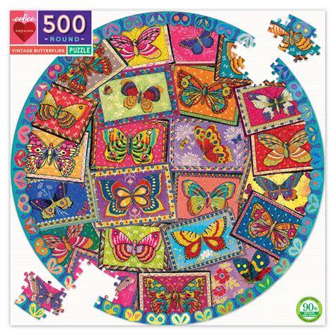 VINTAGE BUTTERFLIES ROUND 500 PIECE JIGSAW PUZZLE - eeBoo