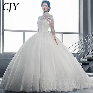 2016 white ball gown wedding dress lace sheer neckline With sheer neckline wedding dress