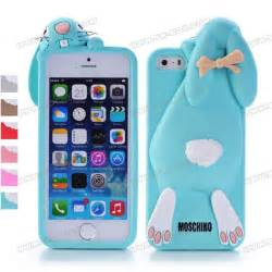 3D Shock Absorption Cartoon Cute Bucktooth Rabbit Soft Rubberized Silicone Snap-On Case Cover For iPhone 5s iPhone 5