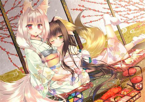 anime anime girls kimono kitsunemimi original