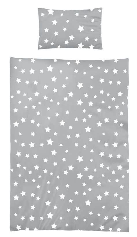 sterne bettwäsche grau bettw 228 sche 100x135 cm baumwolle kinder sterne sternmotiv