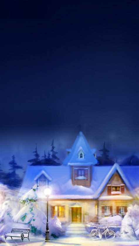christmas eve town iphone  wallpaper hd