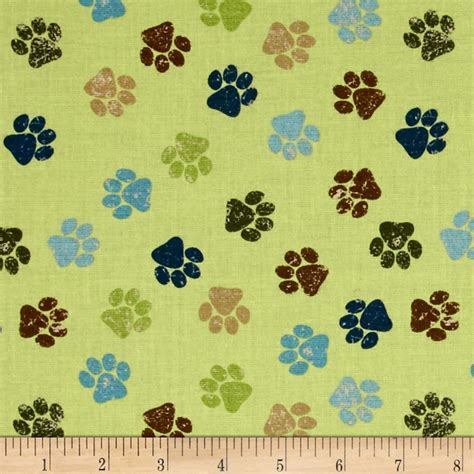 print fabrics it s a dog s life paw prints green discount designer fabric fabric com