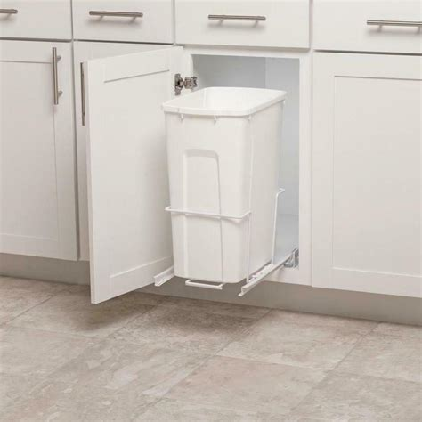 plastic pull out 35 qt trash can white garbage bin basket