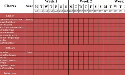 weekly cleaning sheet  excel templates