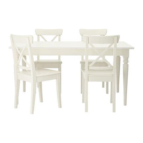 set of white table ls ingatorp ingolf tisch und 4 st 252 hle ikea