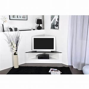 Meuble Tv D Angle Blanc : meuble tv d 39 angle brooklyn achat vente meuble tv meuble tv d 39 angle brooklyn cdiscount ~ Teatrodelosmanantiales.com Idées de Décoration