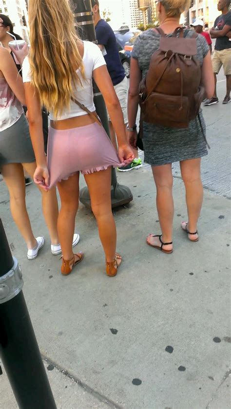 Pretty Blonde Teen In Pink Shorts Showing A Little Ass Cheek Creepshots