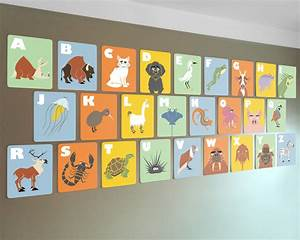 alphabet wall cards 8 x 10 abc flash cards kids modern wall With wall letter designs