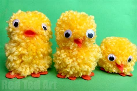 easy pom pom chicks  easter red ted art
