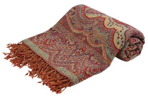 printed wool scarf paisley pashmina throw gita pashmina udhyog