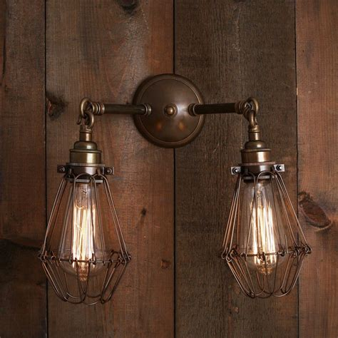 industrial double arm cage wall light conservatory