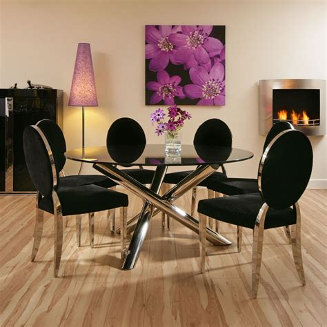 dining set black glass table 1 4mtr 6 luxury black
