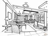 Coloring Room Living Pages Drawing Printable Interior Line Supercoloring Books Bedrooms Paper sketch template