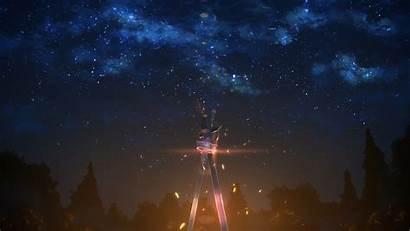Sword Anime Sky Night Stars Background Landscape