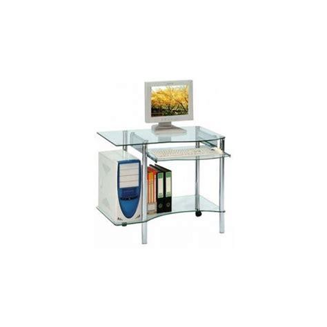 bureau informatique en verre petit bureau informatique en verre pietements inox sur 2 roulettes le moins cher du net