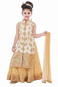 Buy Cream embroidery and print dupion with netted fabric