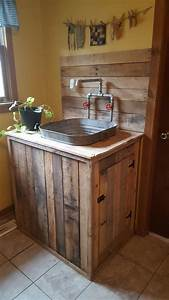 Utility, Sink, I, Built, From, Pallet, Wood, And, An, Old, Wash, Tub