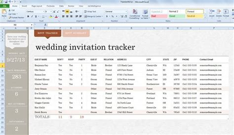 wedding invite list template  excel