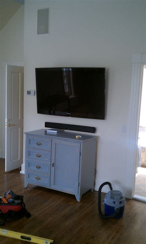 Bedroom Apple Tv by Bethany Ct Tv Mounted In Large Bedroom With Soundbar