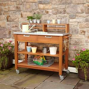 Rust, Resistant, Steel, Top, Potting, Bench, Work, Table, With, Locking, Casters