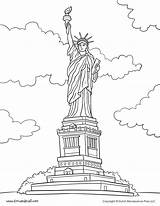 Liberty Statue Coloring Pages Printable Social Studies Printables American July Symbols Activity Timvandevall Worksheet Fourth History Building Clip Tim Tattoo sketch template