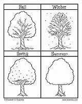 Coloring Seasons Pages Spring Tree Printable Four Pumpkin Winter Summer Fall Preschool Sheets Worksheets Activities Christmas sketch template